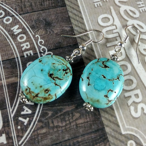 Turquoise Magnesite Silver Earrings