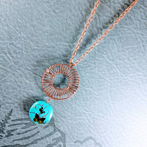 Copper Turquoise Wheel Necklace