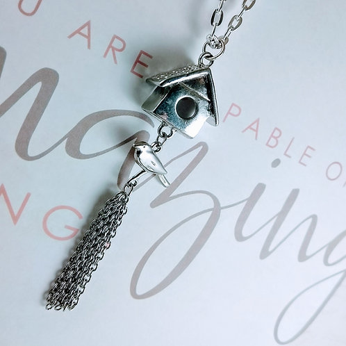 Silver Birdhouse Necklace