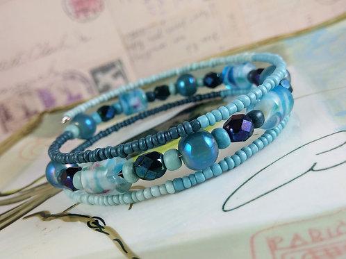 Multi Turquoise Blue Wrap Bracelet