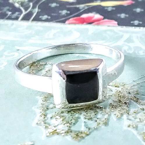 Square Onyx Sterling Ring