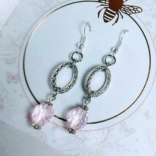 Pink Crystal Silver Earrings