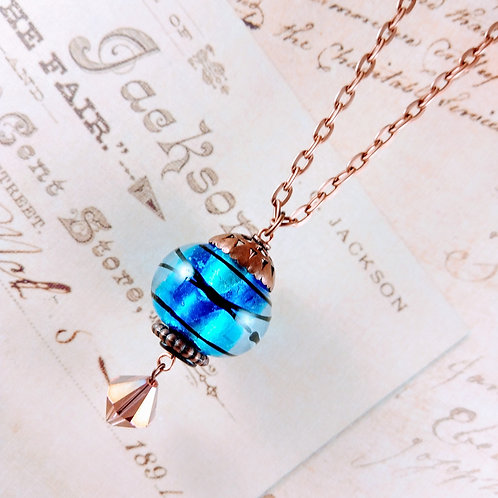 Blue Swirl Glass & Crystal Copper Necklace
