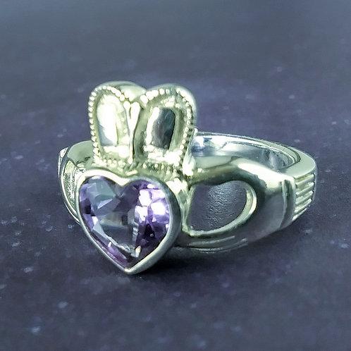Amethyst Claddagh Sterling Ring