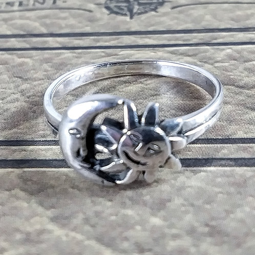 Sun and Moon Sterling Ring