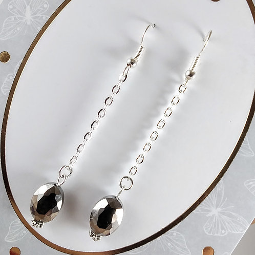 Silver Oval Chain Earring