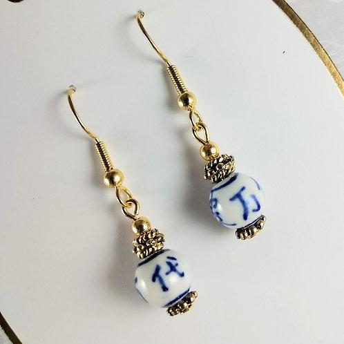Porcelain Gold Earrings