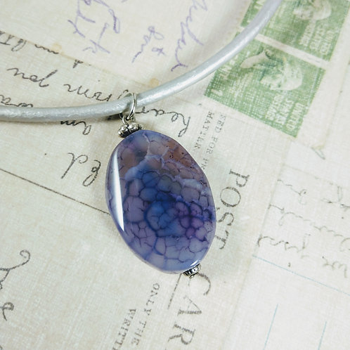 Purple Agate Leather Necklace
