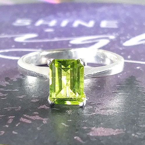 Emerald Peridot Sterling Ring
