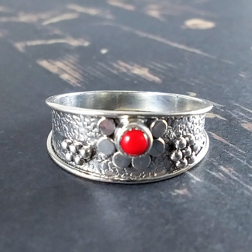 Red Coral Sterling Band Ring