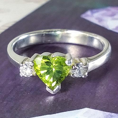 Peridot Heart Sterling Ring