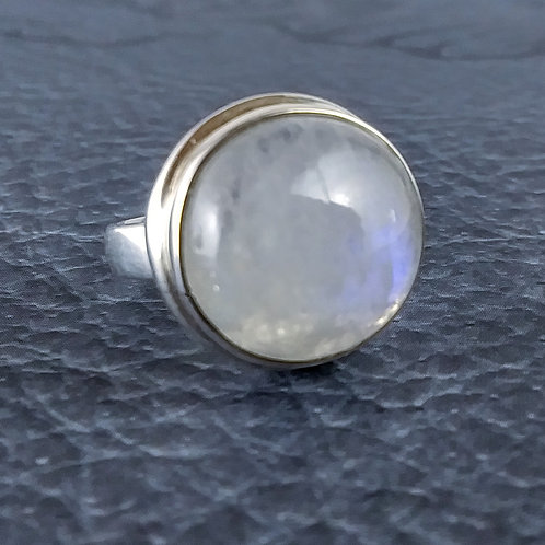 Large Round Rainbow Moonstone Sterling Ring