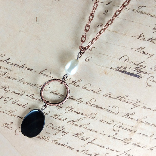 Pearl & Black Copper Necklace