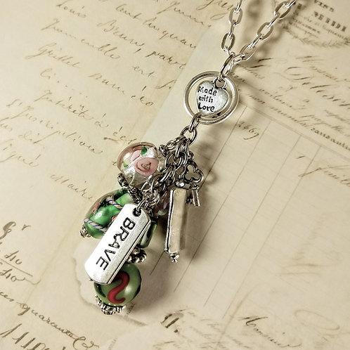 Brave Love Dangle Silver Necklace