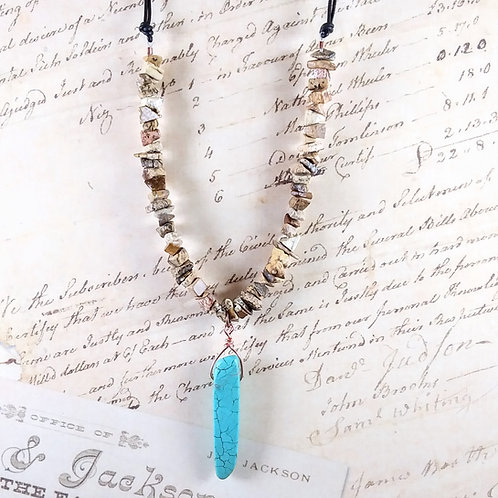 Turquoise & Picture Jasper Leather Necklace