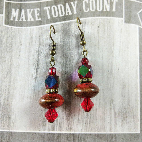 Red Crystal & Ceramic Bronze Earrings