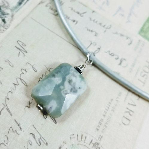 Peacestone Jasper Leather Necklace