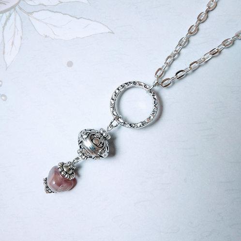Burgandy Drop Silver Necklace