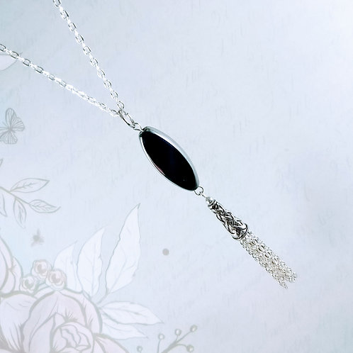Black Marquee Sweep Silver Necklace