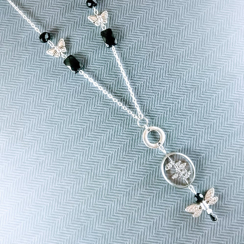Silver & Black  Butterfly Necklace