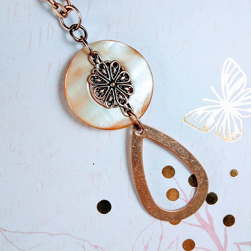 Copper Money of Pearl Teardrop Necklace