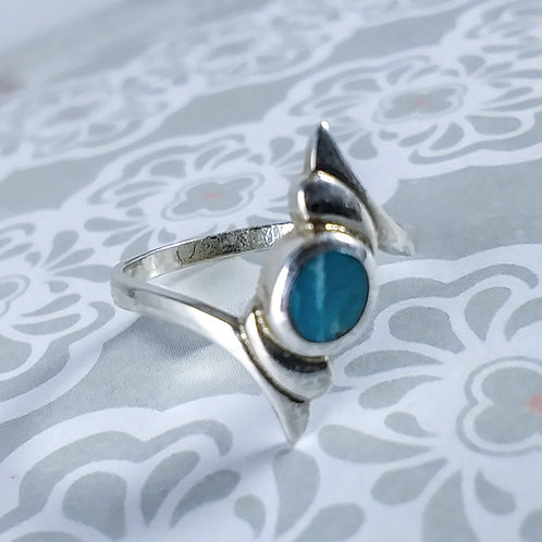 Turquoise Bypass Sterling Ring