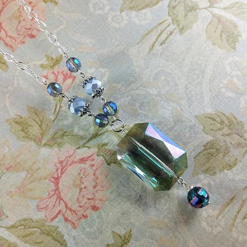 Emerald Cut Blue Crystal Silver Necklace