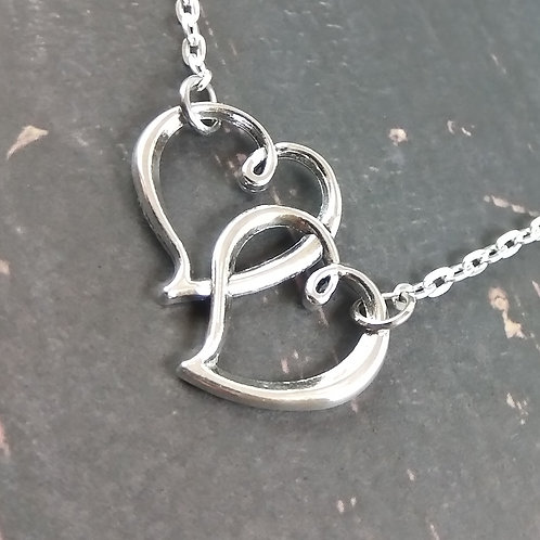 Double Floating Heart Necklace