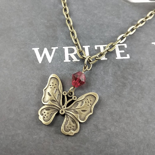Red Bronze Butterfly Necklace