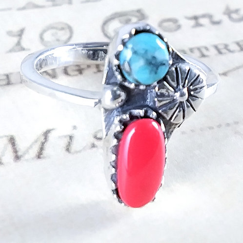 Turquoise and Coral Sterling Ring