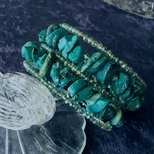 Genuine Xtra Turquoise and Crystal Coil Bracelet