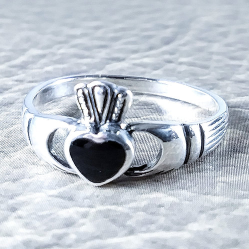 Onyx Claddagh Sterling Ring