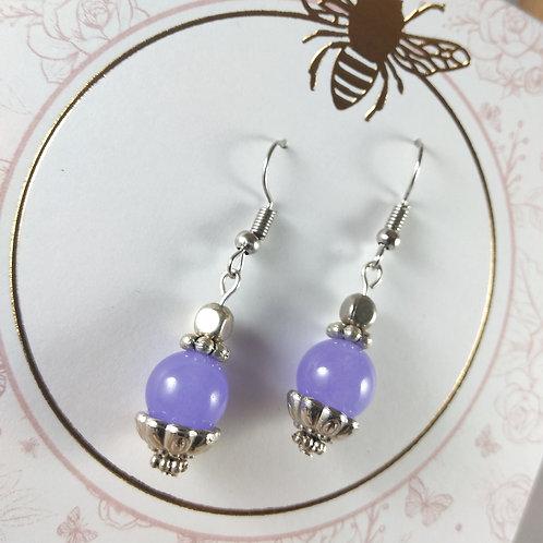 Purple Glass Silver Earrings