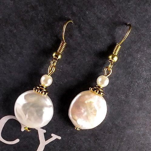 Gold Fresh Water Pearl Earrings