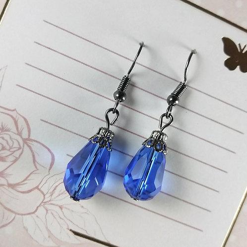 Blue Teardrop Crystal Gunmetal Earrings