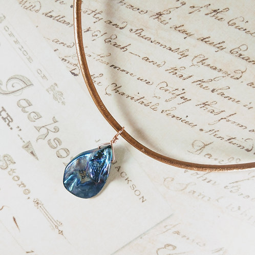 Blue Mother of Pearl Teardrop Leather Necklace