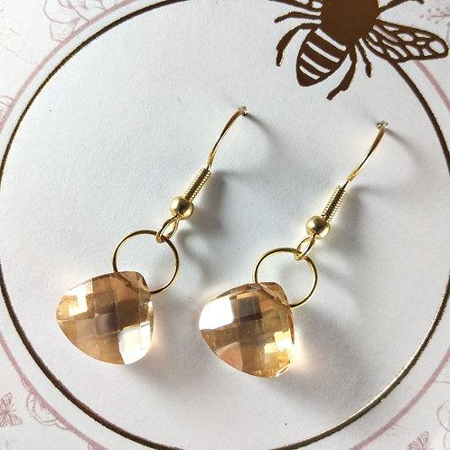 Gold Teardrop Crystal Earrings