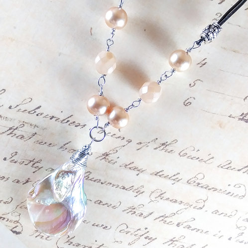 Mother of Pearl Teardrop and Pearl Necklace