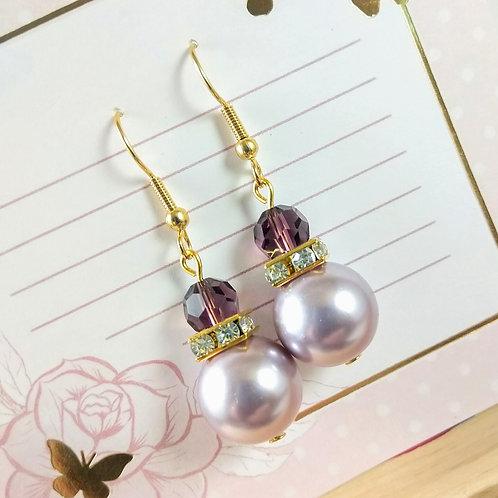 Burgandy Crystal & Pearl Gold Earrings