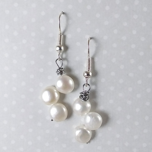 Triple Fresh Water Pearl Earrings