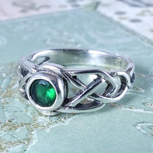 Green Celtic Sterling Ring