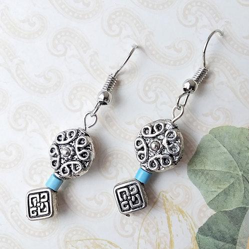 Fancy Pattern Turquoise Earrings