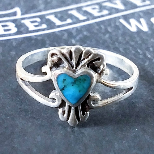 Blue Turquoise Heart Sterling Ring