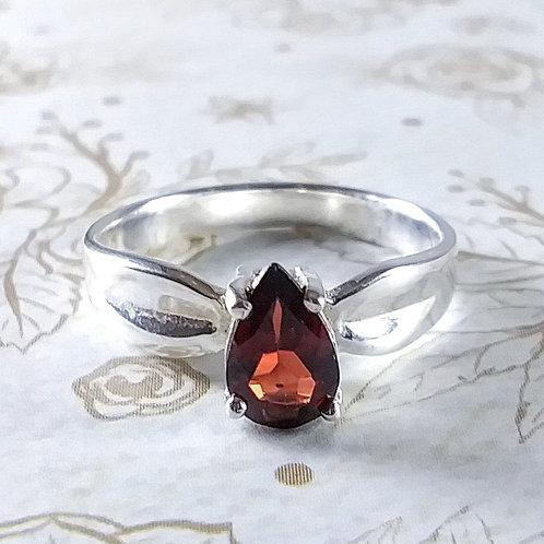 Faceted Garnet Sterling Ring