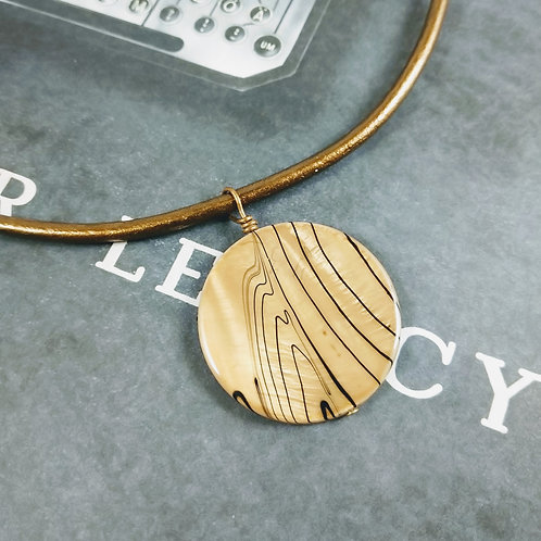 Bronze Mother of Pearl Leather Necklace