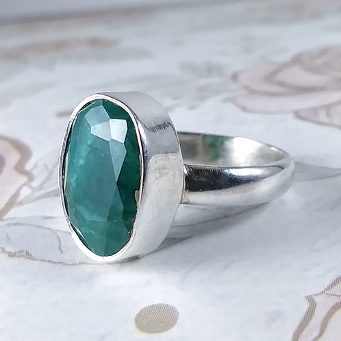Raw Emerald Sterling Ring