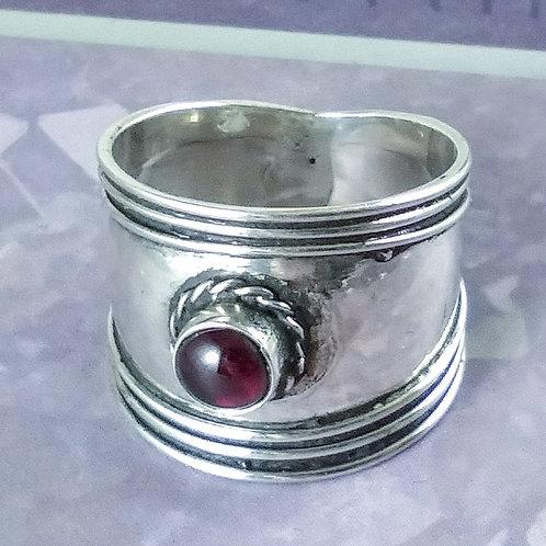 Garnet Sterling Band Ring