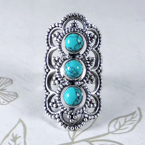 3 Turquoise Sterling Ring