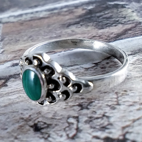Oval Malachite Sterling Ring