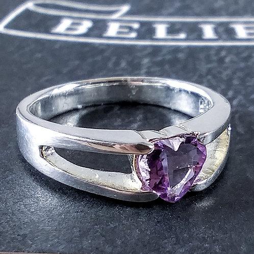 Amethyst Heart Sterling Ring